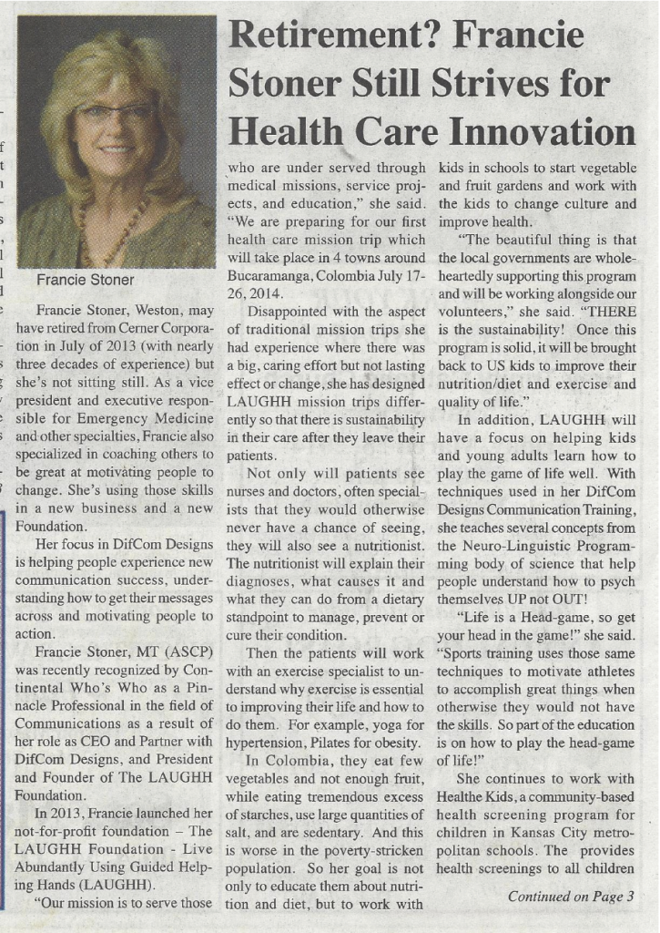 Weston Chronicle Francie Stoner 03-2014 page 1